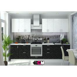 """Кухня """"Дина"""" Белый принт/Черный принт ЛДСП, 3 метра"""
